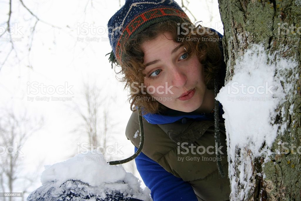 teen girl with snowball, surprised royalty-free stock photo