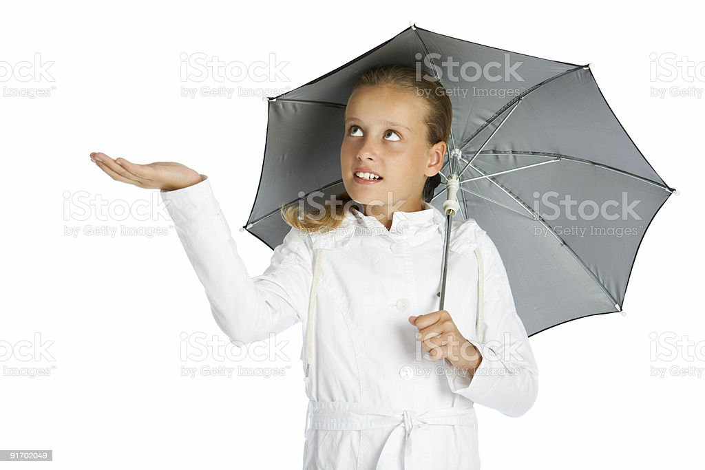 Teen girl with umbrella royalty-free stock photo