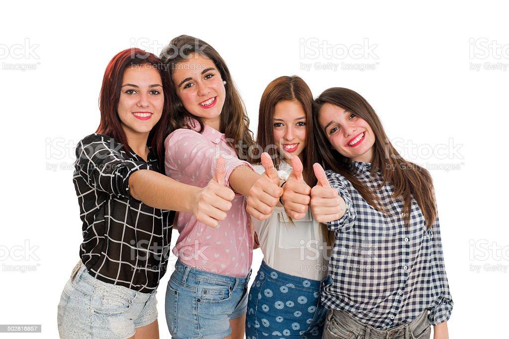Jeunes filles faisant thumbs up photo libre de droits
