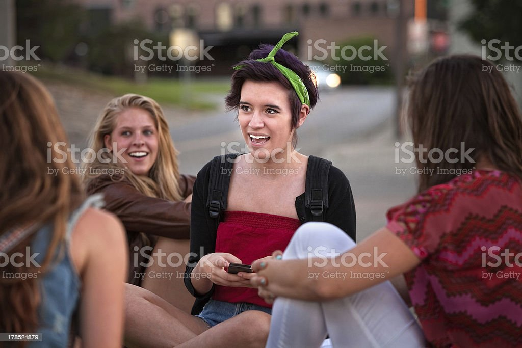 Teen Girls Texting Messages royalty-free stock photo