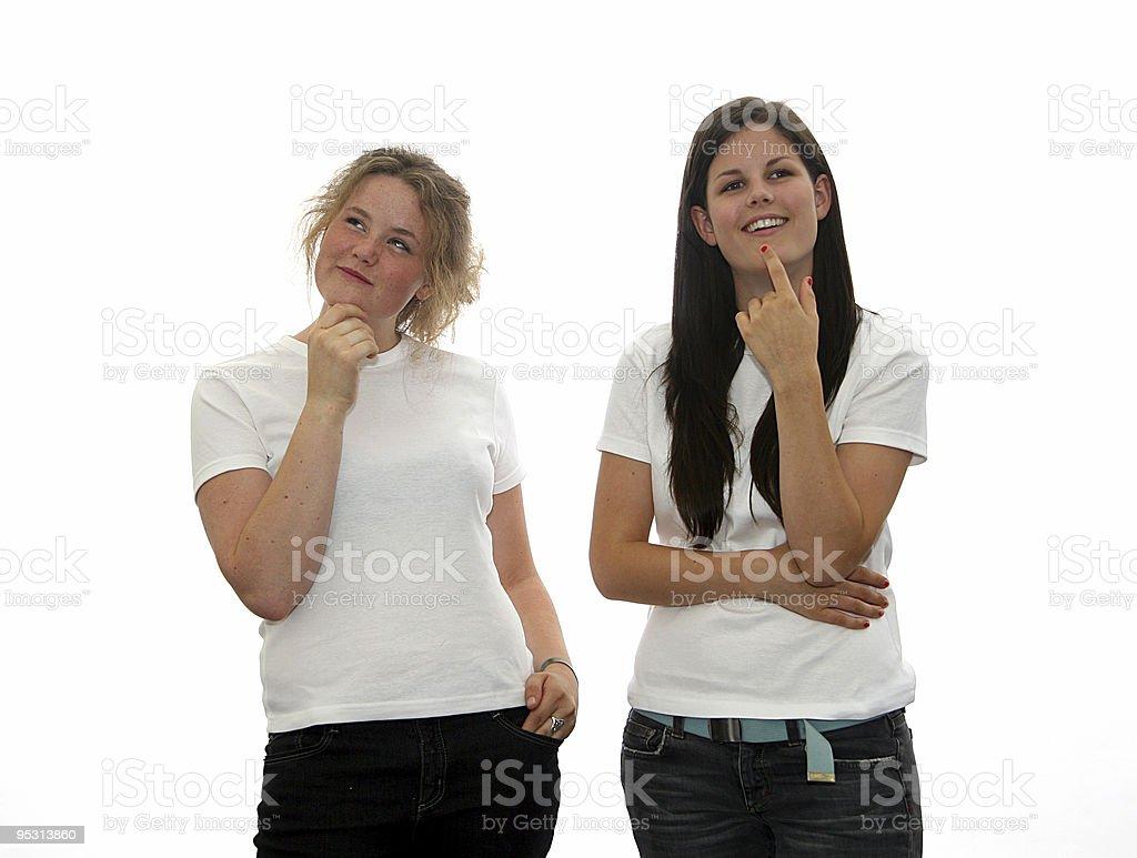 Teen girls thinking royalty-free stock photo