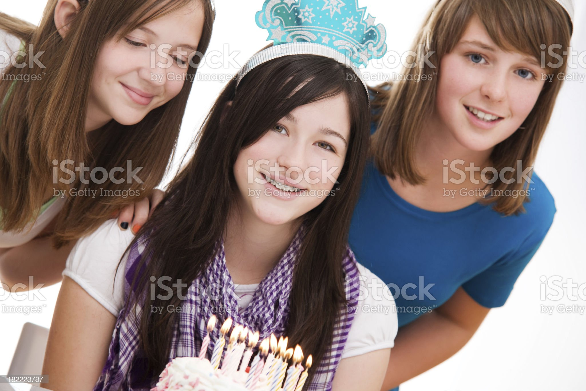 Teen Girls With Birthday Cake royalty-free stock photo