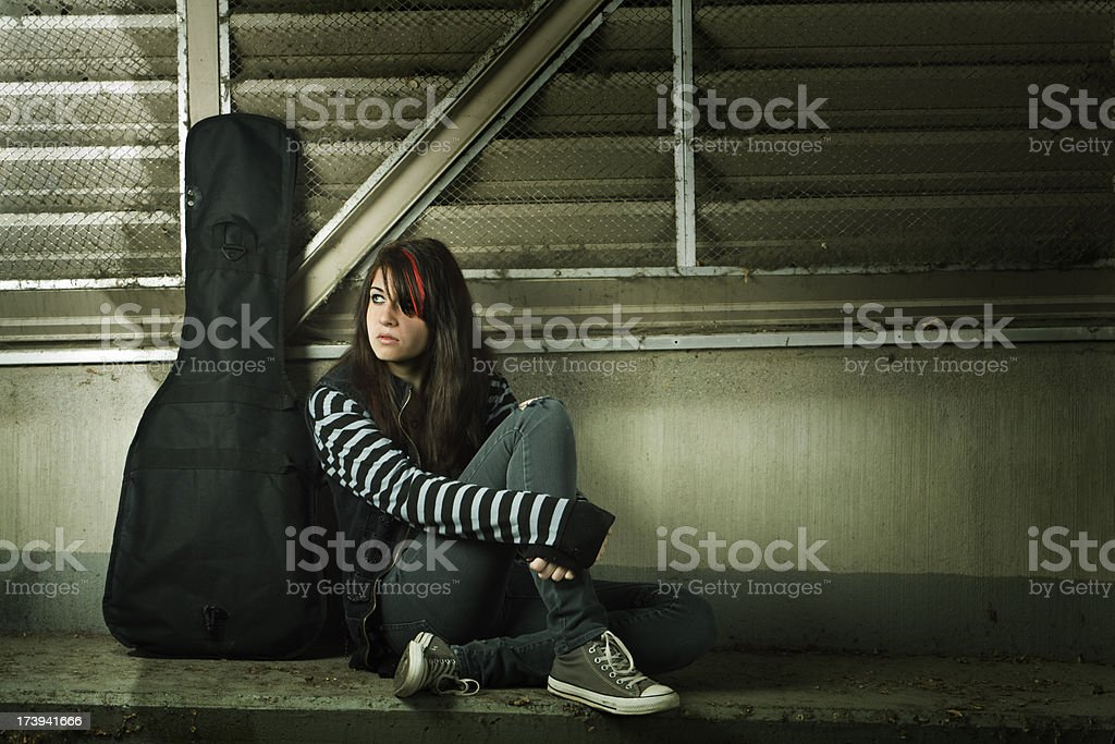 Teen Goth with Guitar Hz royalty-free stock photo