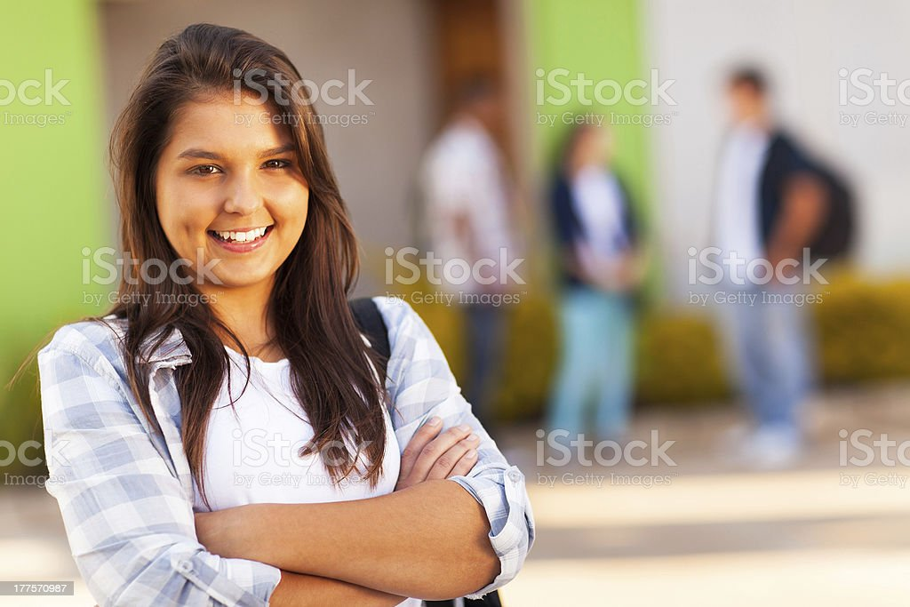 teen high school girl with arms folded royalty-free stock photo