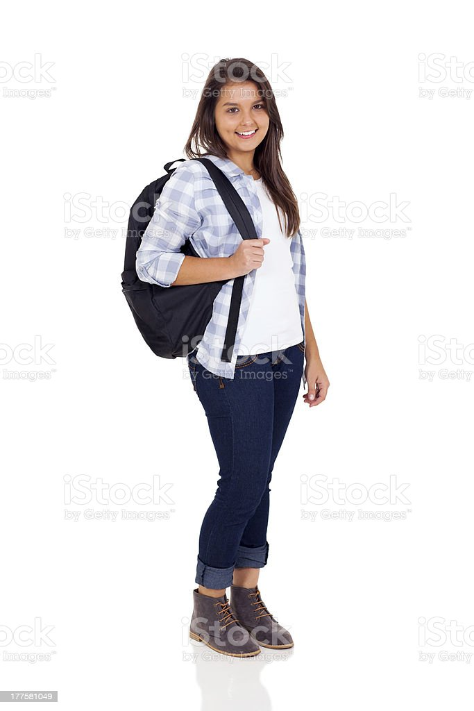 teen high school girl with backpack royalty-free stock photo