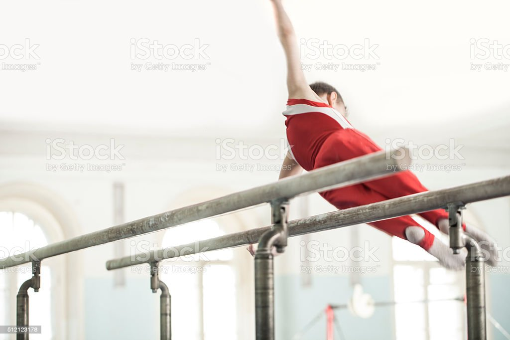 teen in a sports hall stock photo