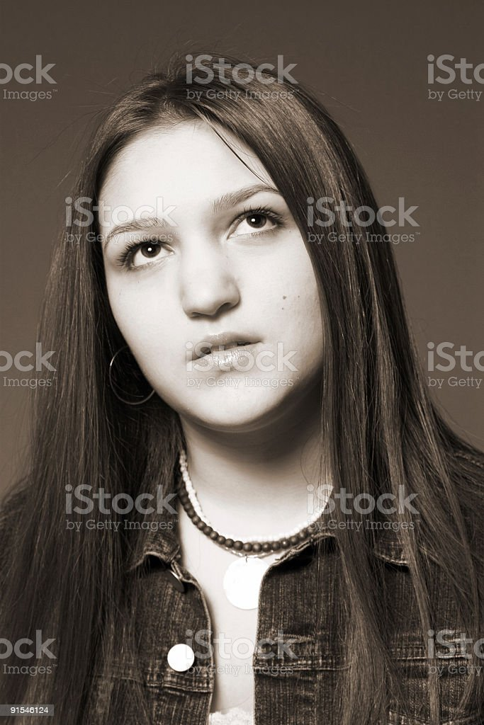 teen in thought stock photo