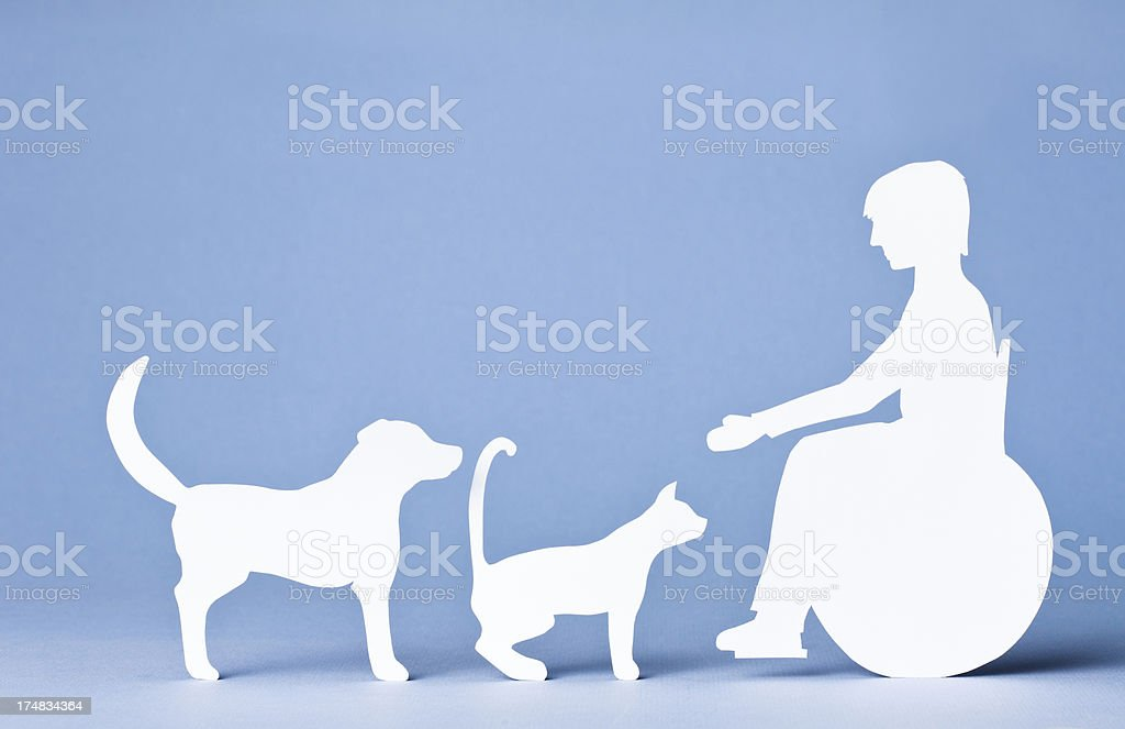 Teen in wheelchair with dog and cat: paper concept royalty-free stock photo