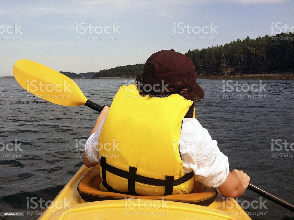 Teen Kayaking Bar Harbor royalty-free stock photo