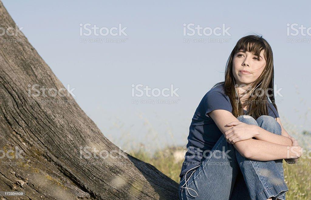 Teen Listens to Music stock photo