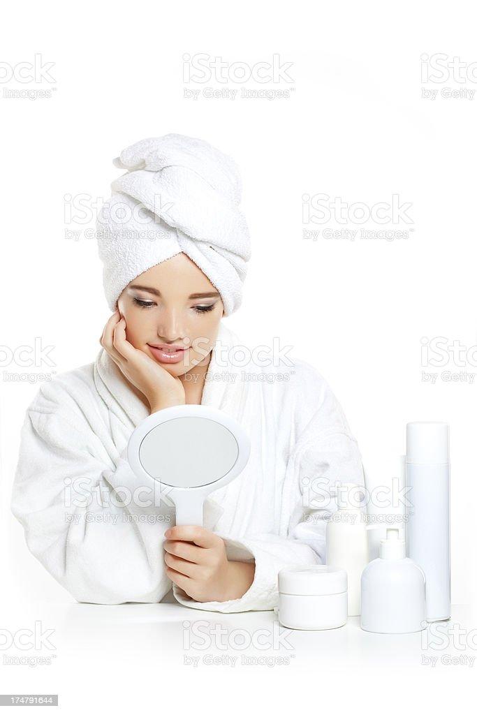 teen looking at mirror royalty-free stock photo
