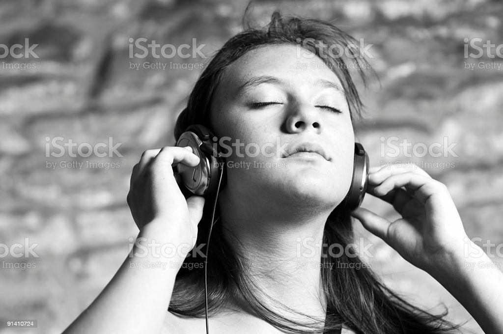 Teen Music Bliss (B+W) royalty-free stock photo