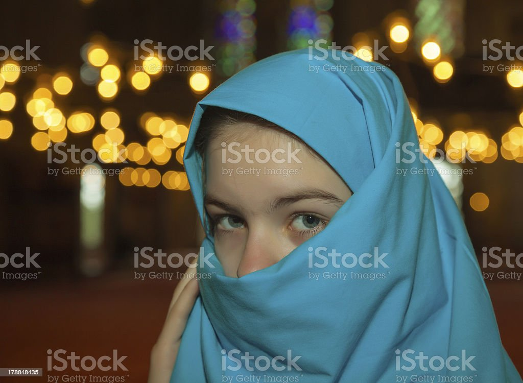Teen muslim girl in the mosque royalty-free stock photo