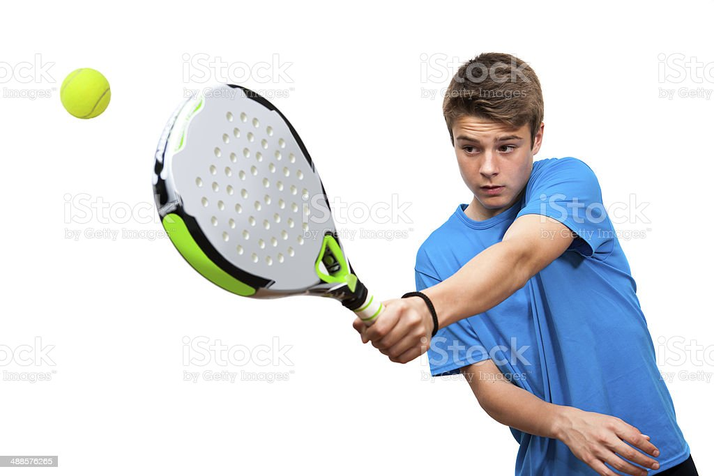 Teen paddle player in action isolated. stock photo