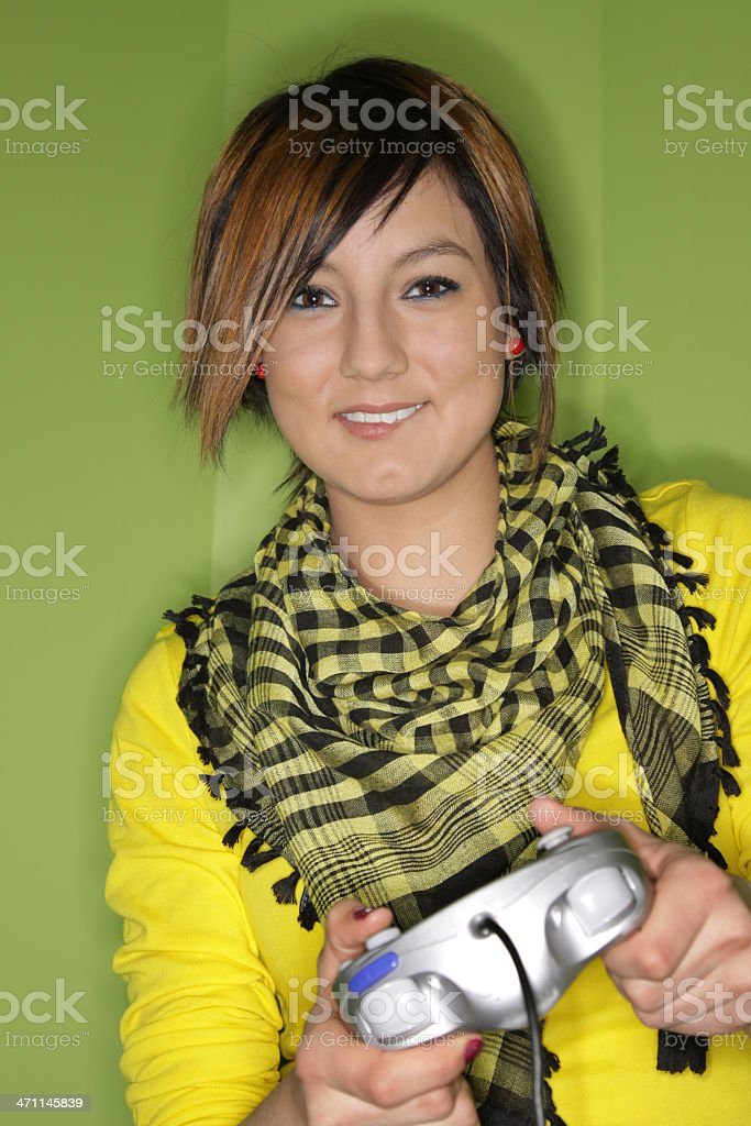 Teen playing video games royalty-free stock photo