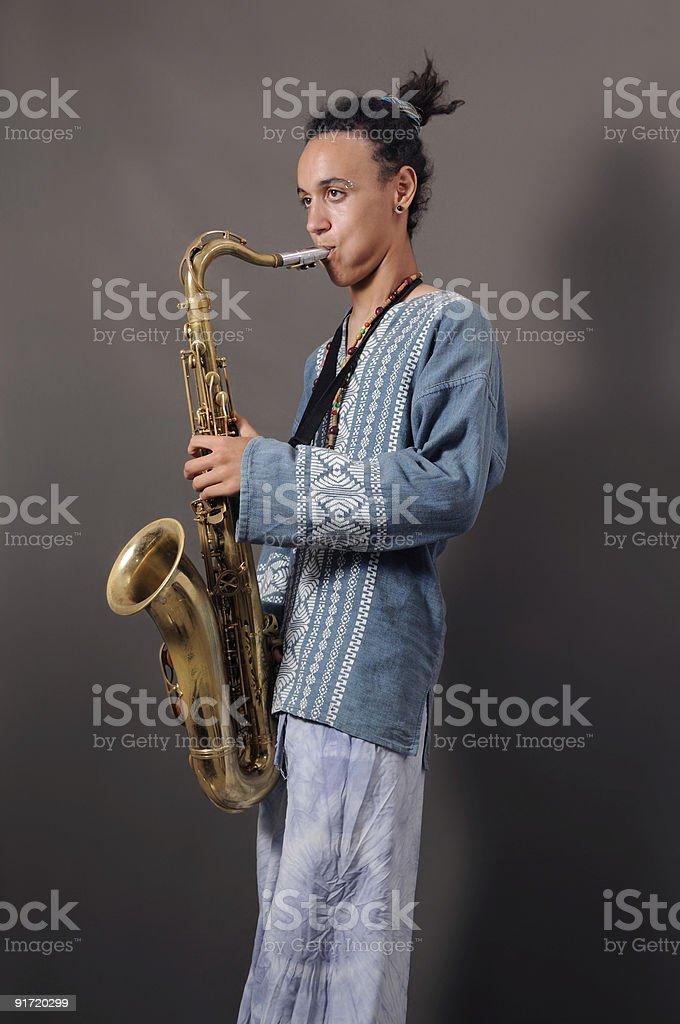 Teen saxo player royalty-free stock photo