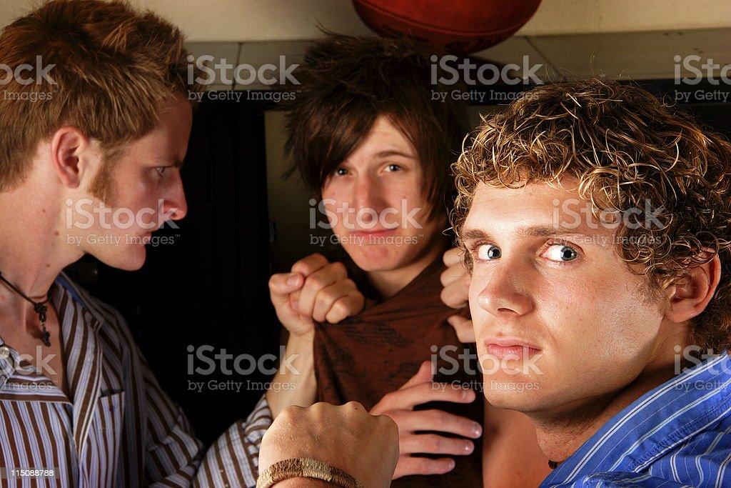 teen sceens - male school violence stock photo