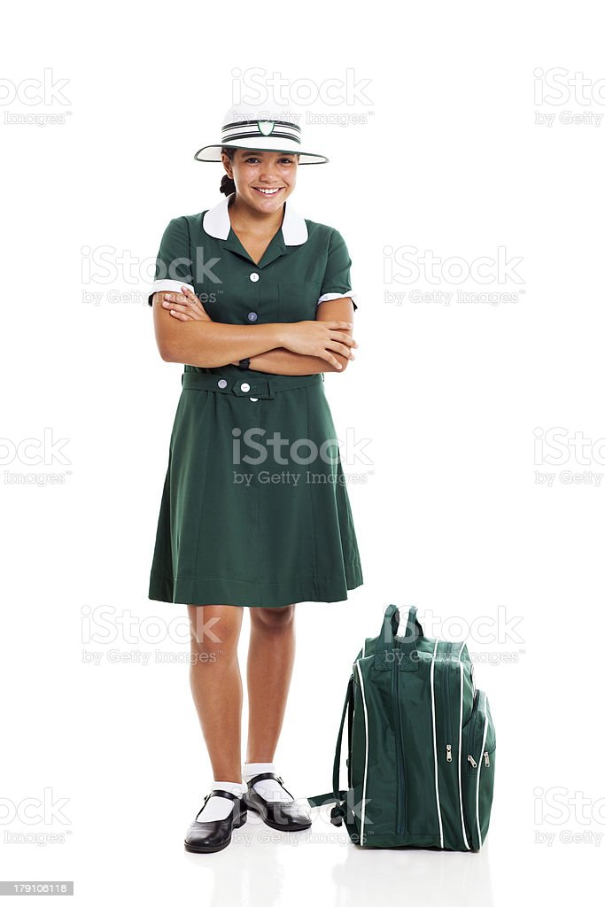 teen school girl with arms folded royalty-free stock photo