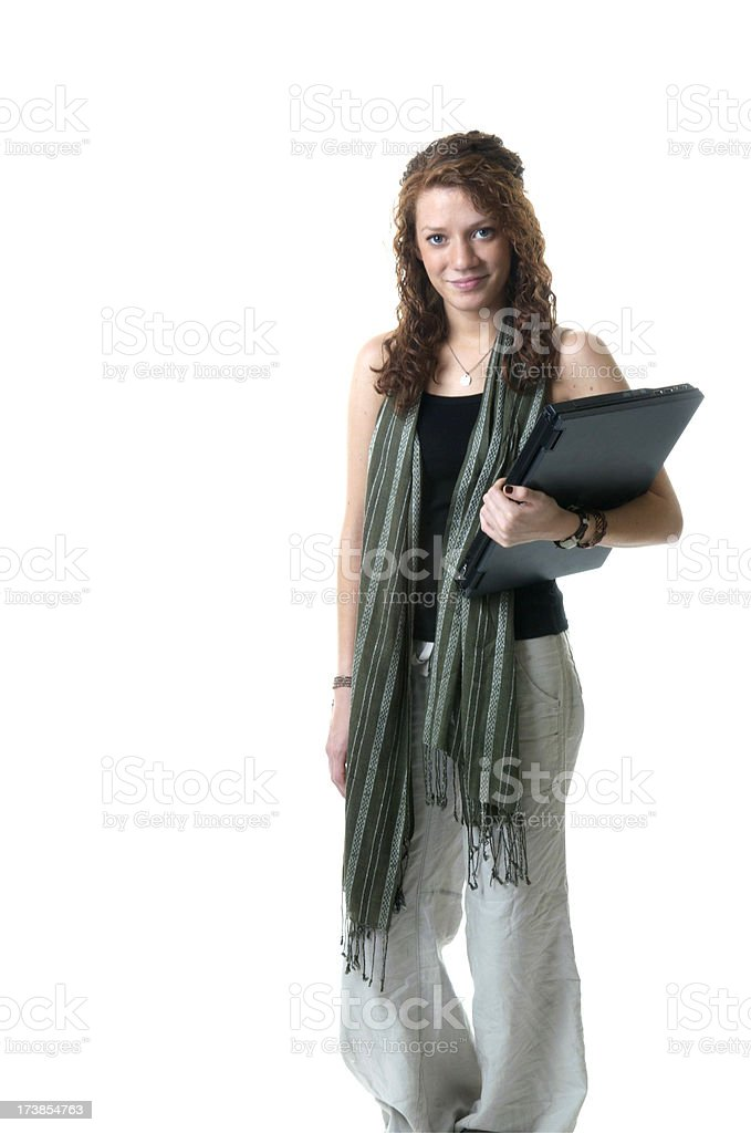 Teen Student With a Laptop royalty-free stock photo