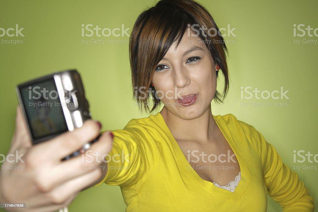 Teen taking self portrait royalty-free stock photo