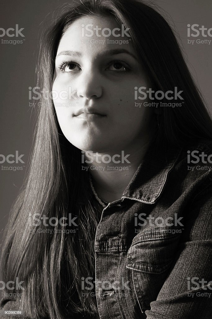 teen thoughts (B&W) stock photo