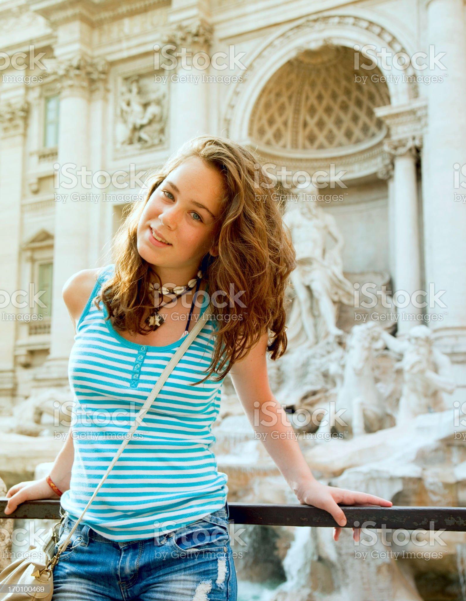 Teen tourist at Fontana de Trevi royalty-free stock photo