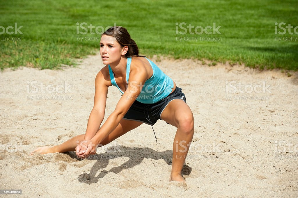 Teen Volleyball Player in Action stock photo