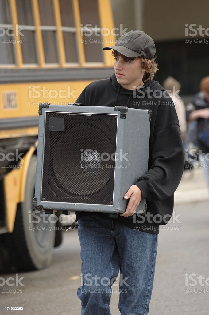 Teen with amp stock photo