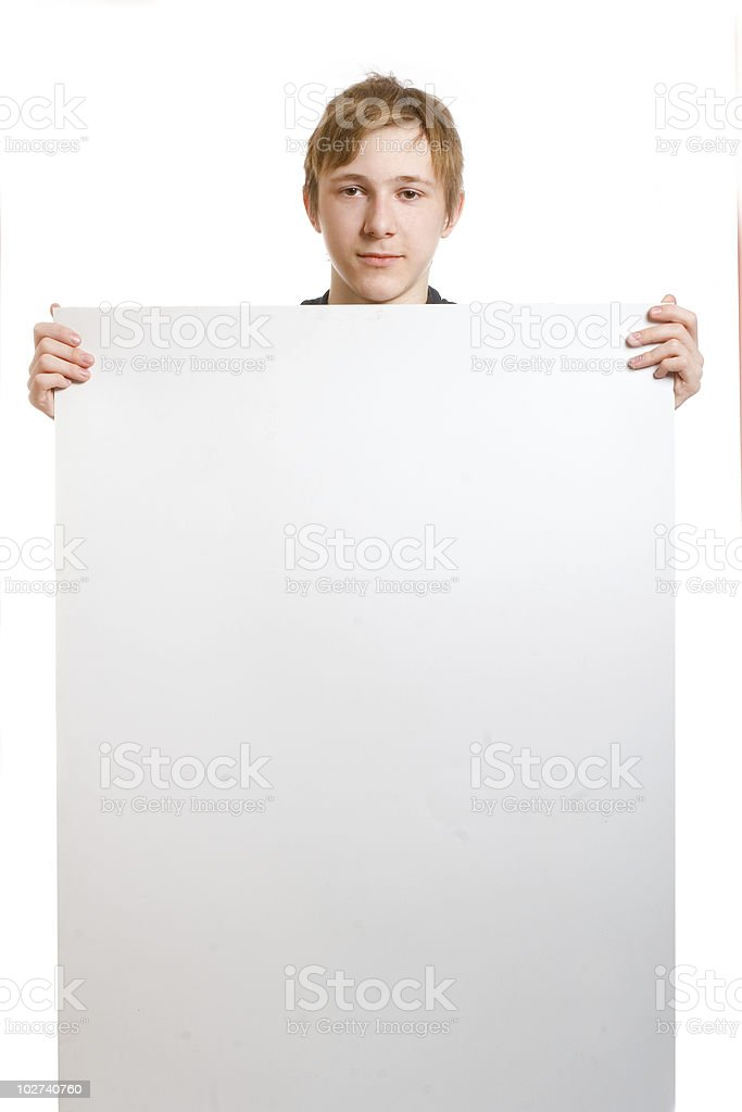 Teen with blank royalty-free stock photo