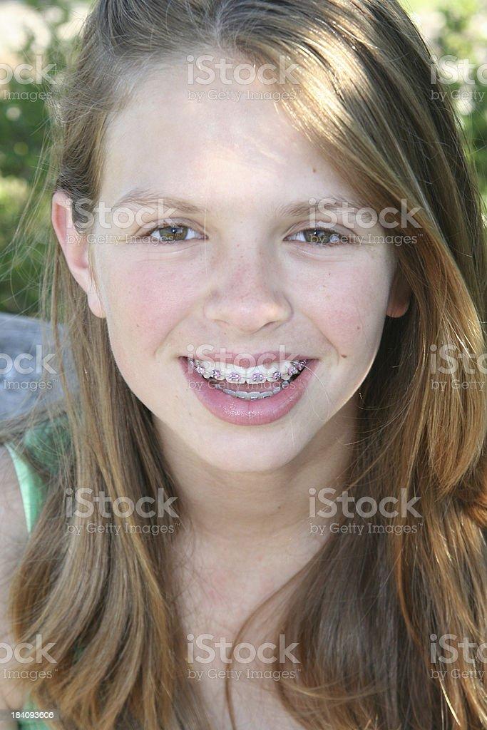 Teen with Braces stock photo