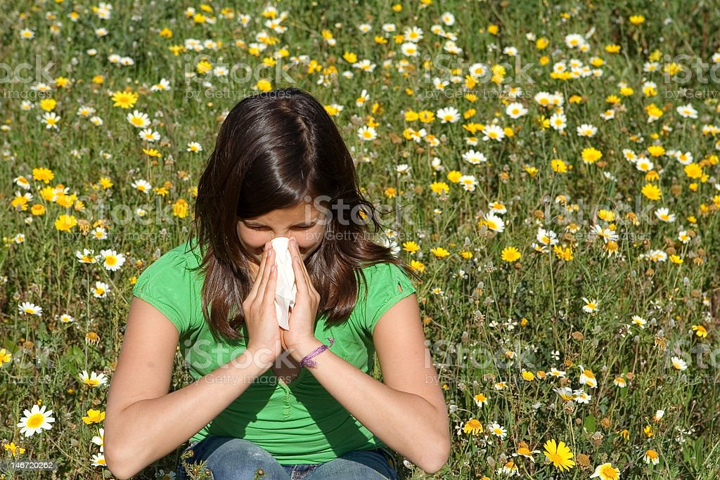 teen with hayfever royalty-free stock photo
