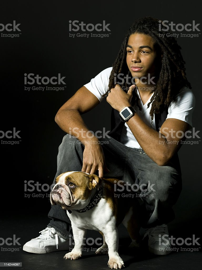 teen with his dog stock photo