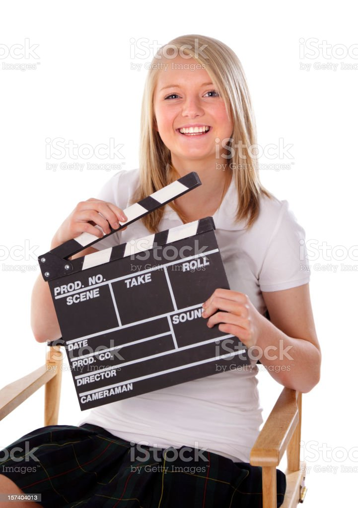 Teen with Movie Clapboard royalty-free stock photo