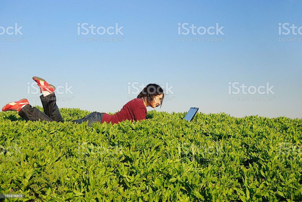 Teen with notebook royalty-free stock photo
