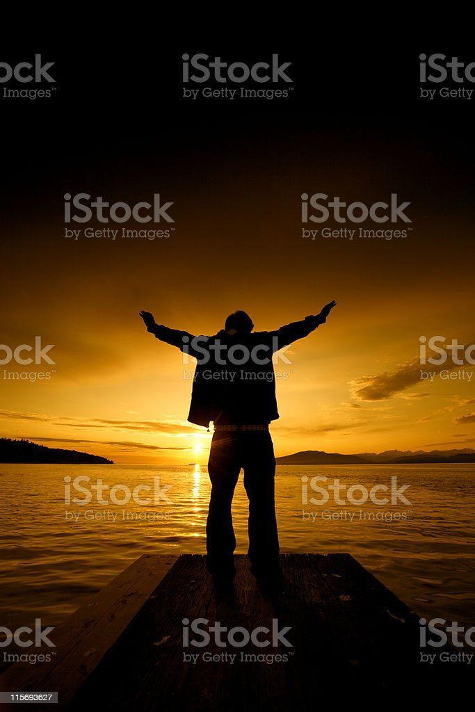 Teen with Outstretched Arms royalty-free stock photo