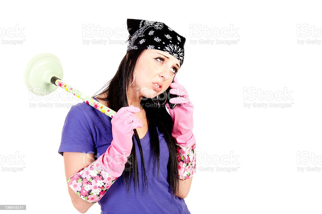 teen with plunger disgusted royalty-free stock photo