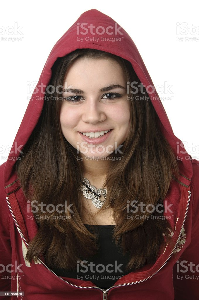 Teen with red hoody. stock photo