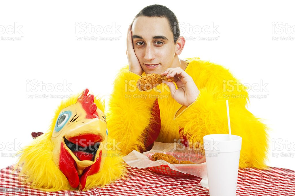 Teen Works in Fast Food royalty-free stock photo