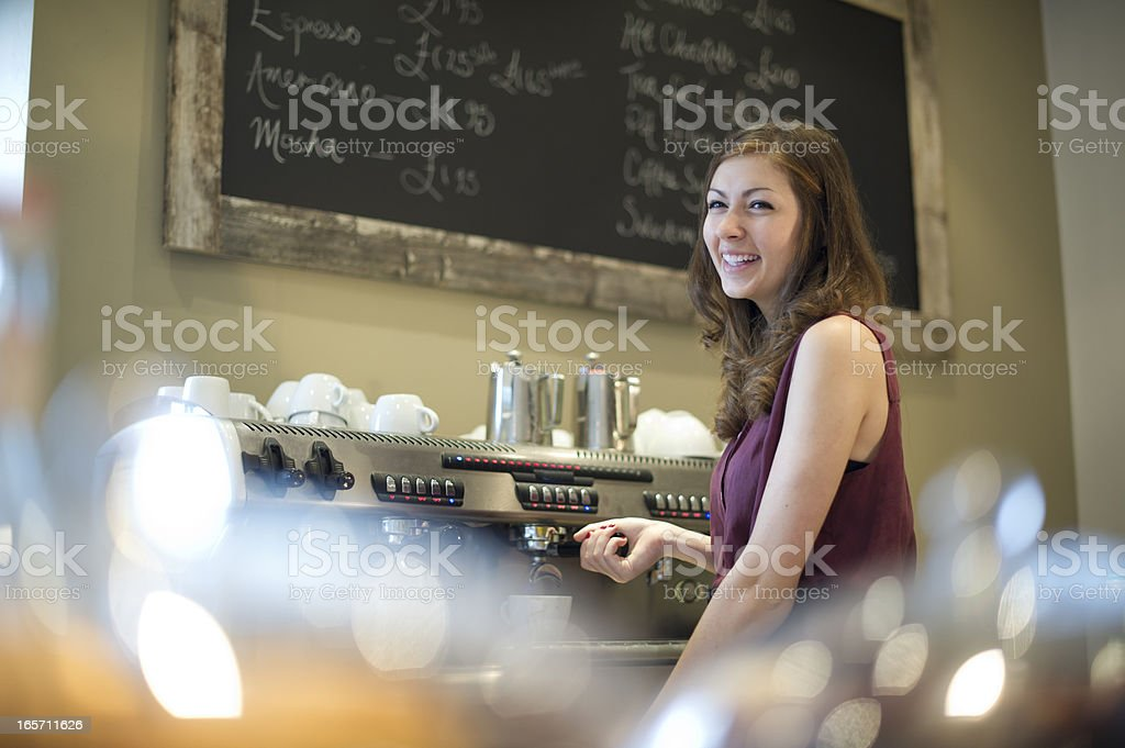 teenage barista stock photo