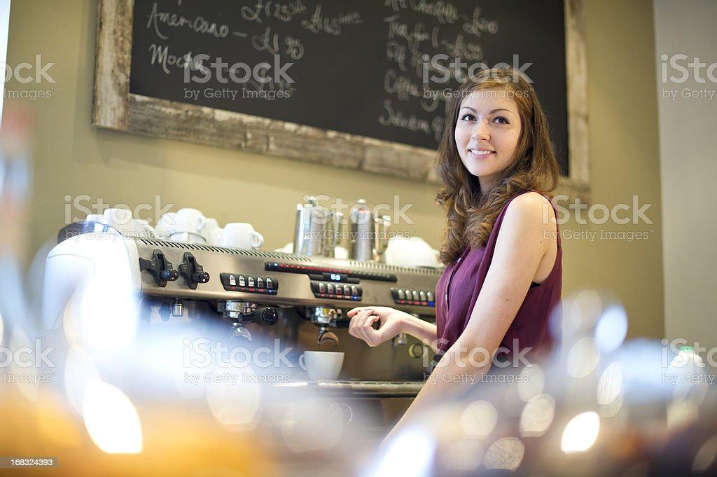 teenage barista royalty-free stock photo