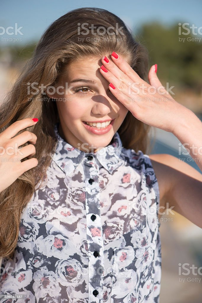 Teenage Beauty Outdoors Summer Portrait stock photo