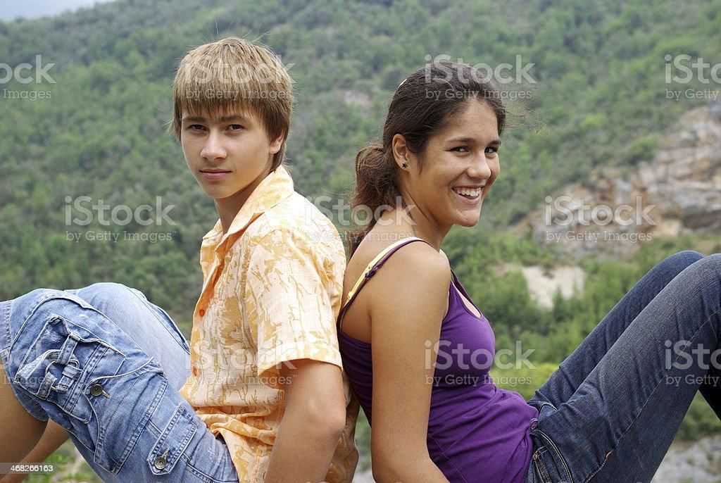 Teenage boy and girl stock photo