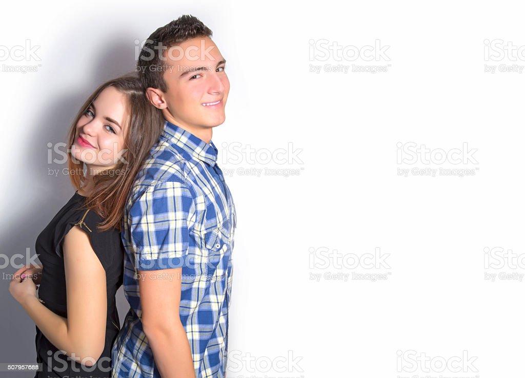 Teenage boy and girl royalty-free stock photo