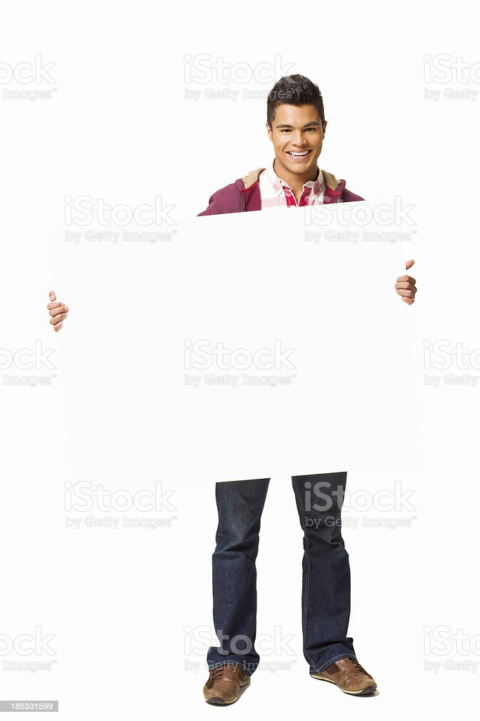 Teenage Boy Holding a Blank Sign - Isolated royalty-free stock photo