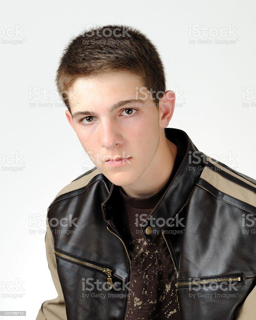 Leather jacket boy - Teenage Boy In Leather Jacket Royalty Free Stock Photo