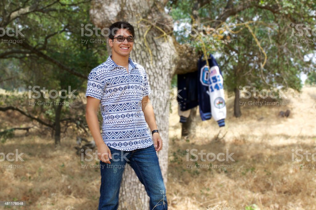 Teenage Boy in Park stock photo