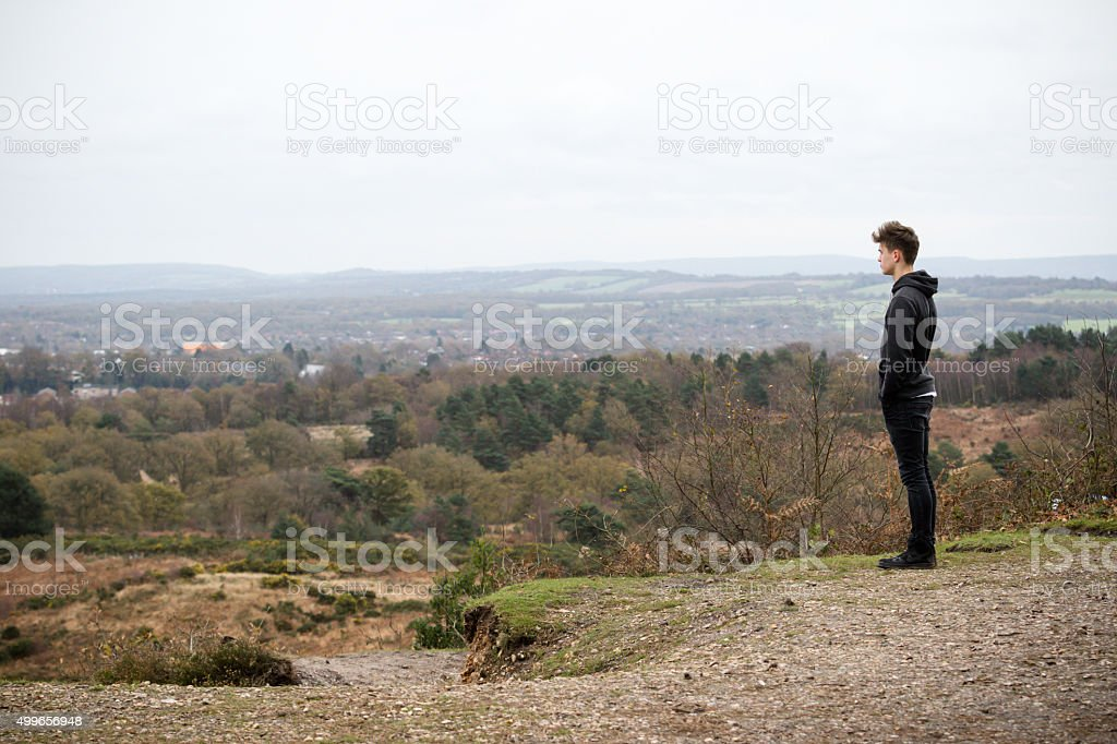 Teenage Boy Looking Over A Landcape stock photo