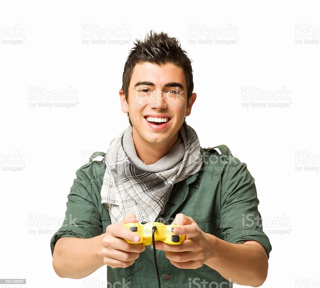 Teenage Boy Playing a Video Game royalty-free stock photo