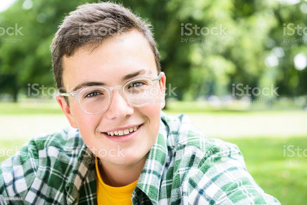 Teenage boy portrait stock photo