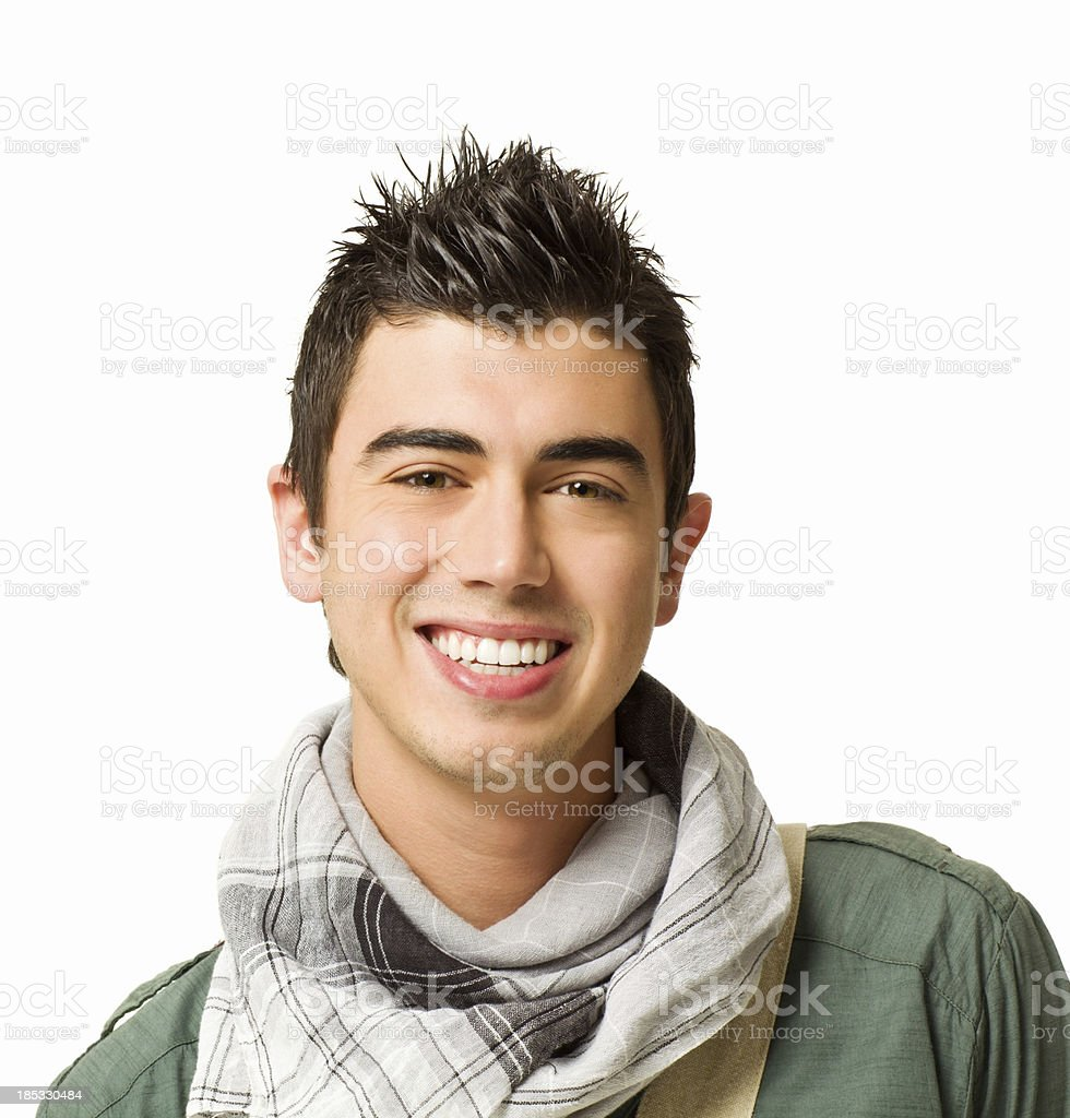 Teenage Boy Wearing a Scarf - Isolated royalty-free stock photo